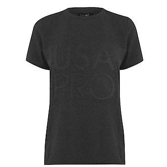 USA Pro Womens Long Line T-Shirt Crew Neck Short Sleeve T Shirt Tee Top