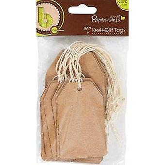 docrafts Papermania Bare Basics Cardstock Gift Tags and String, Natural Kraft 20-Pack