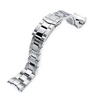 Strapcode watch bracelet 22mm super 3d oyster 316l stainless steel watch bracelet for tudor black bay, brushed & polished submariner clasp