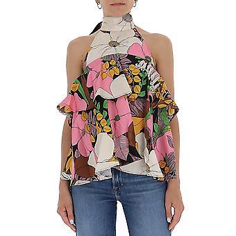 La Double J Top0006sil001bfl0001 Women's Multicolor Silk Top