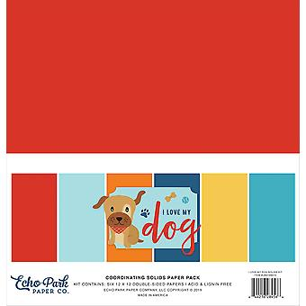 Echo Park I Love My Dog 12x12 pulgadas coordinando sólidos paquete de papel