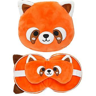 Cutiemals Childrens/Kids Red Panda Travel Pillow With Eye Mask