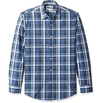 أساسيات الرجال & apos;ق العادية تناسب طويلة الأكمام عارضة قميص بوبلين, البحرية ميد ...