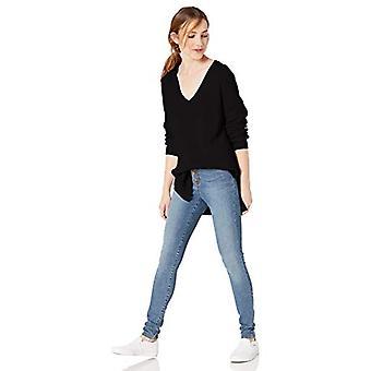 Merk - Goodthreads Women's Cotton Half-Cardigan Stitch Deep V-Neck Sweater, Zwart, Medium