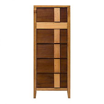 Rebecca Furniture Bedside Cabinet 5 Drawers Wood Brown Modern 130.5x50x40