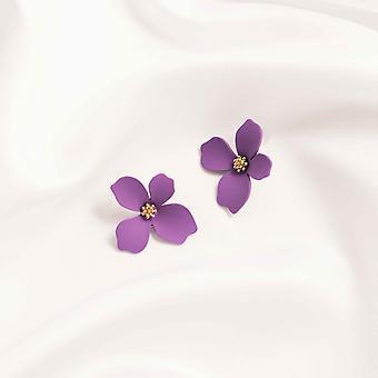 Μοβ λουλούδι σχεδίου δήλωση σκουλαρίκια