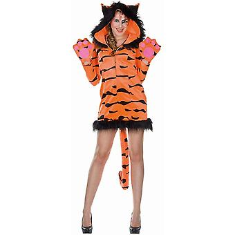 Tigerkleid Damen Kostüm Tigerkostüm Raubkatze Wildkatze Tiger
