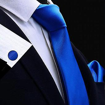 Bright royal blue tie cuff link & pocket square set