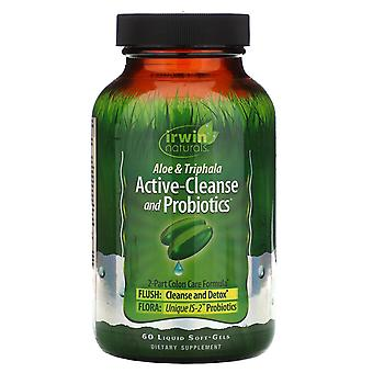 Irwin Naturals, Aloe & Triphala Active-Cleanse and Probiotics, 60 Liquid Soft-Ge
