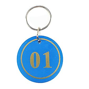 30pcs 3.5cm No.1-30 Key Tags with Iron Ring Blue
