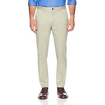 KNAPPET NED menn's slim fit stretch ikke-jern kjole chino bukse, khaki, 34W x ...
