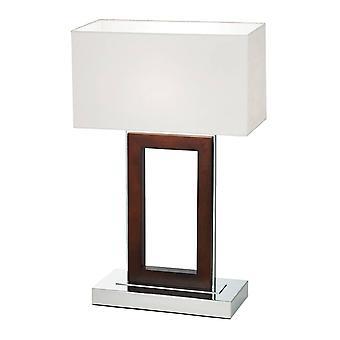 Portail Endon - Lampe de table Bois foncé, Crème Faux Suede, E27