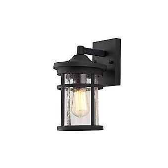 Luminosa Lighting - Væglampe, 1 x E27, Sort, Klar revnet glas, IP54