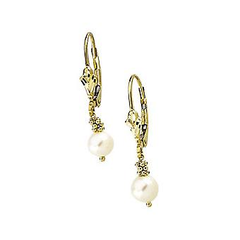 14k Yellow Gold Lever Back Earring White Freshwater Cultured Pearl 5.5 6mm Jewelry Gifts for Women