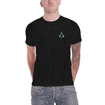 Assassins Creed Valhalla T Shirt Nordic Wappen all Over Print offiziellen Herren schwarz
