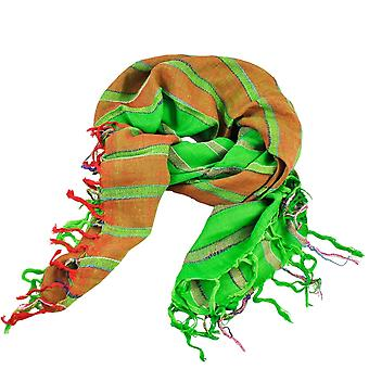 Ties Planet Green & Red & Silver Lurex Striped Square Scarf