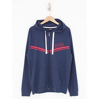 BOSS Loungewear Authentic Hooded Logo Jacket - Dark Blue