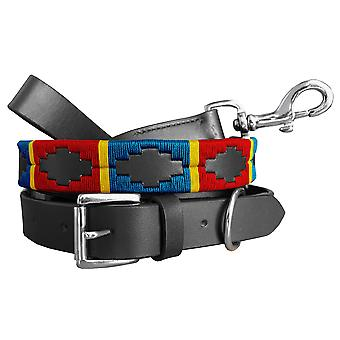 Carlos diaz genuine leather matching pair waxed embroidered polo dog collar and lead set cduplc4