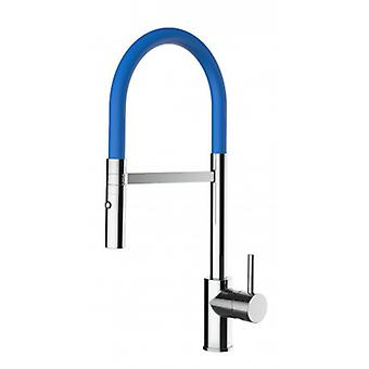Kitchen Single-lever Sink Mixer With Blue Movable Spout And 2 Jets Shower - Low Version 43 Cm - 552
