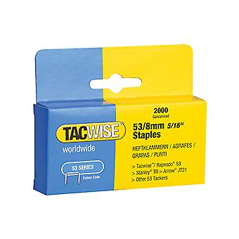 Tacwise 53 Light-Duty Staples 8mm (Type JT21, A) Pack 2000 TAC0335