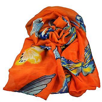 Krawatten Planet Schmetterling Tier Druck Orange leichte Frauen's Schal Schal