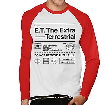 E.t. O perfil de especificação extra terrestre Men''s Baseball Long Sleeved T-Shirt