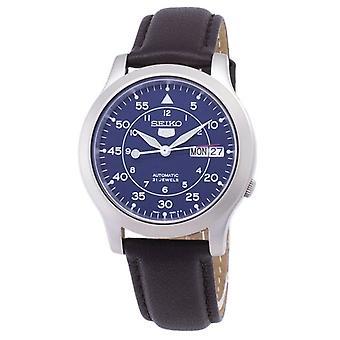 精工 5 军用 Snk807k2-ss4 自动棕色皮革表带男装手表