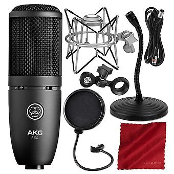 Akg p120 cardioid condenser microphone - deluxe accessory bundle with shock mount + mic stand & more