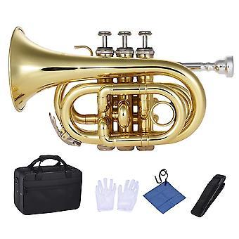 Muslady mini tromba tascabile bb strumento a fiato in ottone piatto con bocchino