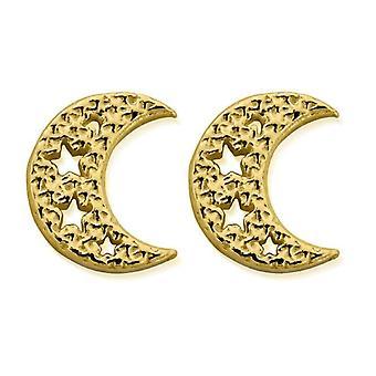 ChloBo GEST3099 Women's Gold Tone Starry Moon Stud Earrings