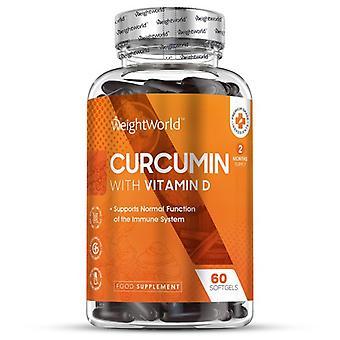 Curcumin & Vitamin D - 500mg 60 Capsules with High Strength Vitamin D Liquid (2 Month Supplement)