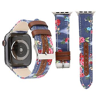 Bracelet de montre en cuir authentique denim Flower Pattern pour Apple Watch Series 3 & 2 & 1 38mm (Bleu foncé)