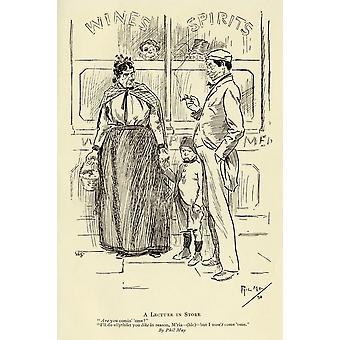 הרצאה בחנות על ידי פיל מאי 1864 ל1903 הקריקטורה האנגלית הדפס פומרסט