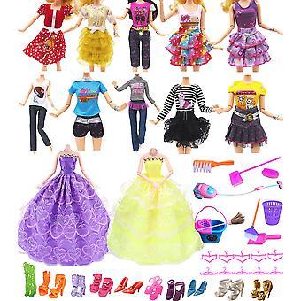 "Hey~yo poppenkleding voor barbie,11"" poppenaccessoires 41 pc's inbegrepen 2 pc's trouwjurk+10 set"