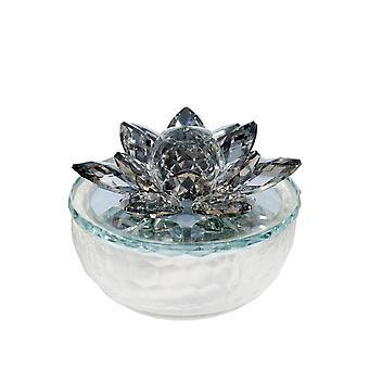 Tarro de baratija de vidrio acentuado con flor de loto de cristal, blanco y negro