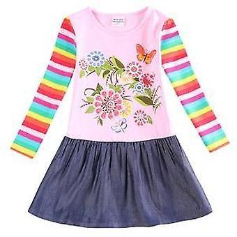Μακρύ μανίκι κορίτσια φόρεμα , λουλούδια, ρίγες