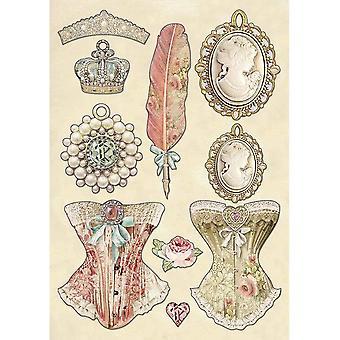 Stamperia farbige Holzformen A5 Prinzessin's Schmuck