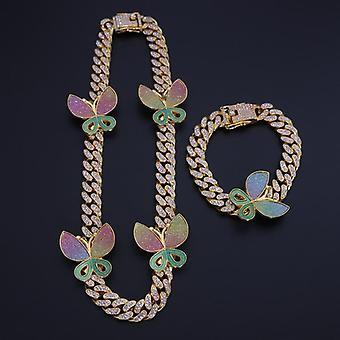 Halskette + Uhr + Armband, Hip Hop Bordstein kubanische Naschen Kette, gepflasterte Strass Cz Bling
