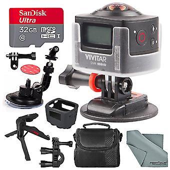 Vivitar dvr968hd 180° wi-fi actionkamera videokamera bunt med fäste + 32gb + xpix stativ + fodral + fibertique trasa