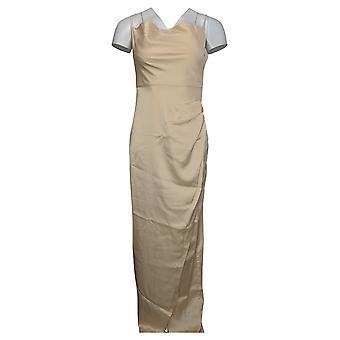 Nasty Gal Collection Dress Satin Cowl Neck Slit Midi Beige