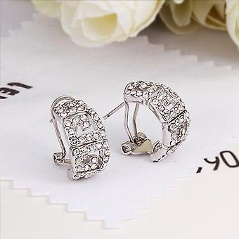 Greek Style Stud Earring In 18k White Gold Plated