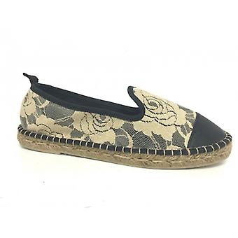 Women's Shoes Elite Espadrillas Rope F Rubber Cotton Lace Taupe and Black Ds16el01