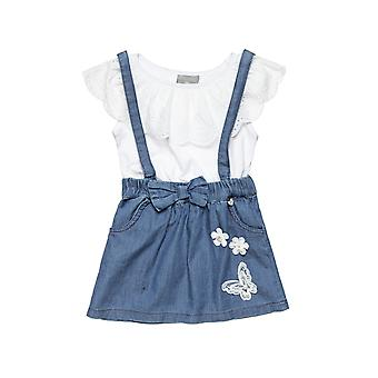 Alouette Girls' T-Shirt Set With Lace And Jeans Skirt