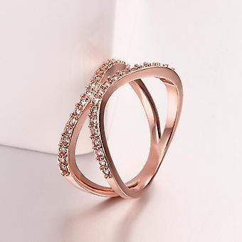 18k Rose Gold Plated Éliane Abstract Pave Ring Made With Swarovski