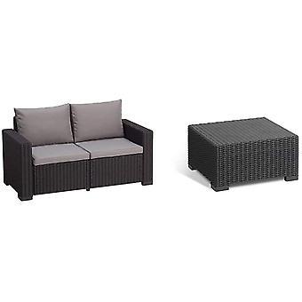 Allibert by Keter Gartenlounge Sofa California 2-Sitzer, Graphit/Panama cool Grey, inkl. Sitz- und