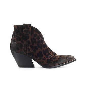Elena Iachi Cheetah Print Suède Texan Ankle Boot