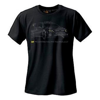 الرجال قصيرة الأكمام تي شيرت OMP رالي الأسود (الحجم S)
