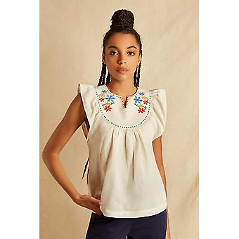 Louche Sustain Womens Ember Embroidered Sleeveless Top Ecru