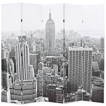 vidaXLルームディバイダー折りたたみ可能な200 x 170 cmニューヨーク日黒と白
