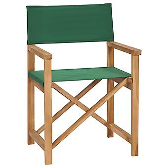 vidaXL Folding Director Chair Solid Wood Teak Green